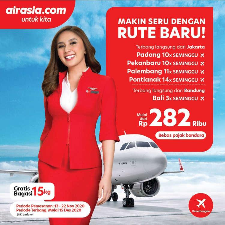 Kabarminang Id Airasia Buka 5 Rute Baru Jakarta Padang Cuma Rp489 000 Plus Gratis Bagasi 15 Kg